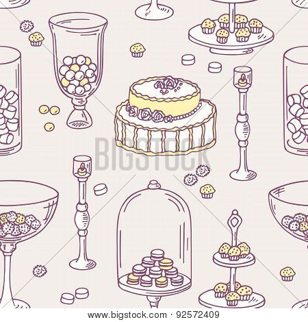 Seamless pattern with doodle candy bar objects. Sweet shop background