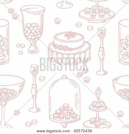 Seamless pattern with outline style candy bar objects. Sweet shop background