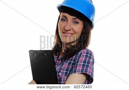 Woman With Documents Wearing Protective Blue Helmet