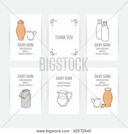 Business card set with milk icons. Hand drawn illustration