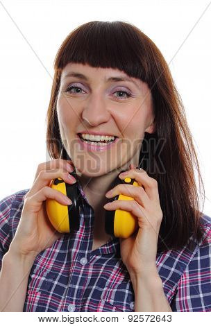Woman Wearing Protective Headphones
