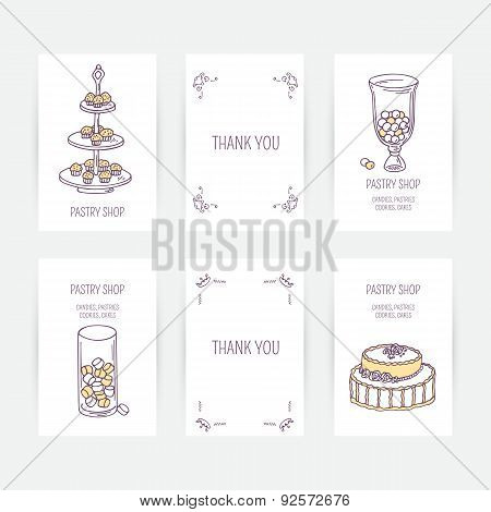 Business card set with candy bar icons in vector. Hand drawn illustration