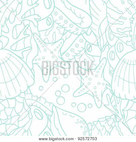 Outline doodle sea seamless pattern with starfish and shells