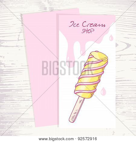 Ice cream menu template with with hand drawn twisted fruity popsicle