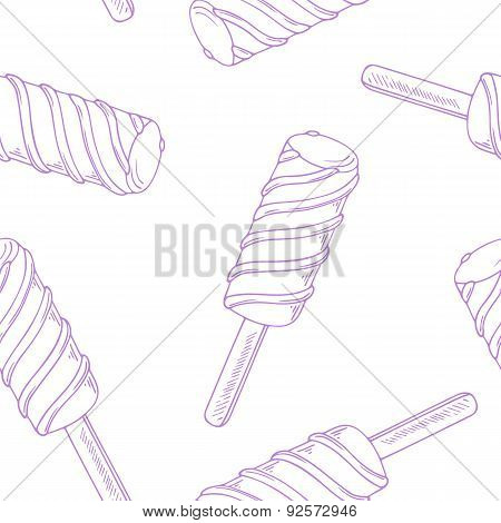 Outline seamless pattern with hand drawn twisted fruity ice cream in vector