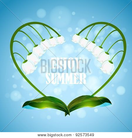 Enjoy the summer. Illustration with heart shape wreath lilies