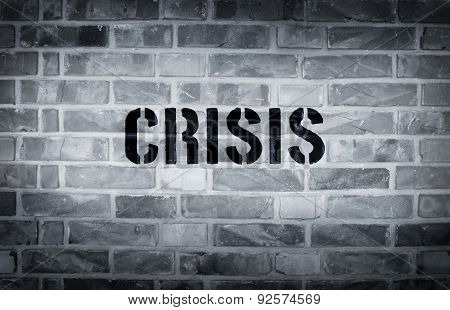 Crisis Stencil Print On The Grunge White Brick Wall