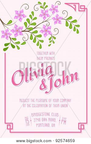 Wedding invitation card. Vector invitation card with floral elements on the background and elegant f