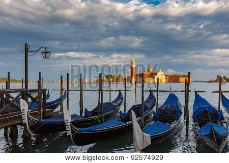 Gondolas in Venice lagoon after the storm, Italia