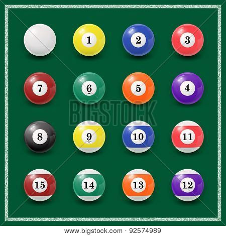 Complete set of billiard balls on a green background