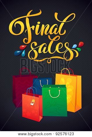 Sale poster with percent discount. Illustration of paper shopping bags