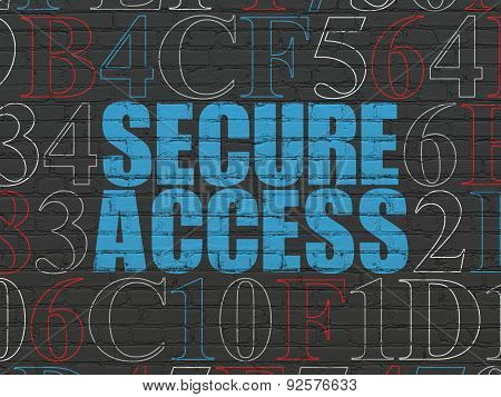 Safety concept: Secure Access on wall background