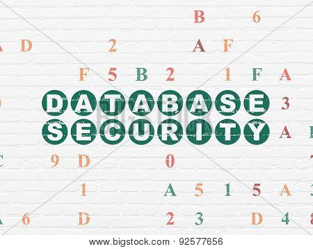 Safety concept: Database Security on wall background