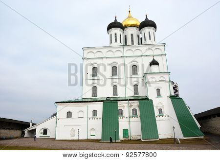 Famous Trinity Cathedral In The Pskov City, Russia