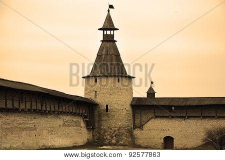 Pskov Kremlin Also Called Pskov Krom In Sepia Tone