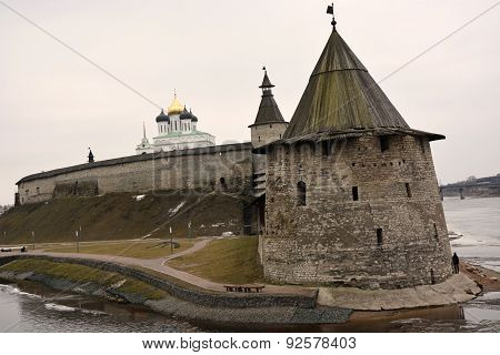 Stone Tower And Pskov Kremlin Fortress Wall At The Confluence Of Two Rivers