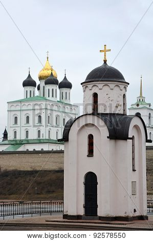 Olga's Chapel In Pskov, Russia With Trinity Cathedral In Background