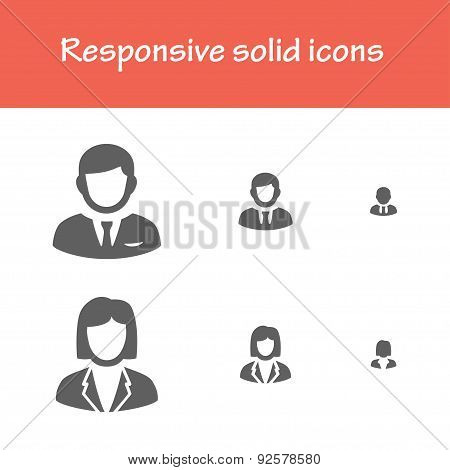 Responsive Solid Business People Icons