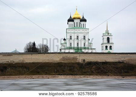 Famous Trinity Cathedral From River Velikaya. Pskov City, Russia