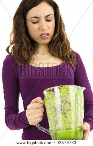 Green Smoothie Woman Looking Unhappy