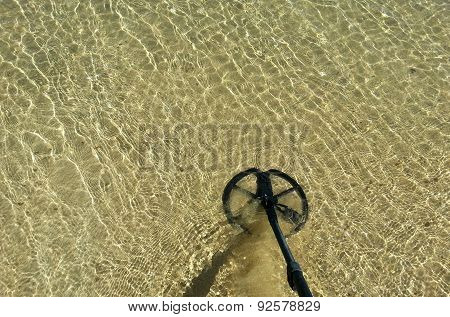 Metal Detector In Clean Transparent Sea Water