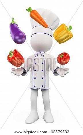 3D White People. Chef Juggling With Vegetables