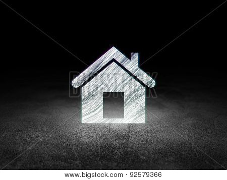 Finance concept: Home in grunge dark room