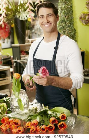 Portrait Of Male Florist In Shop