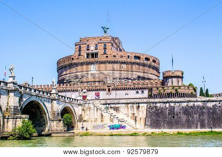 View Of Castel Sant'angelo From Under The Bridge , Rome, Italy