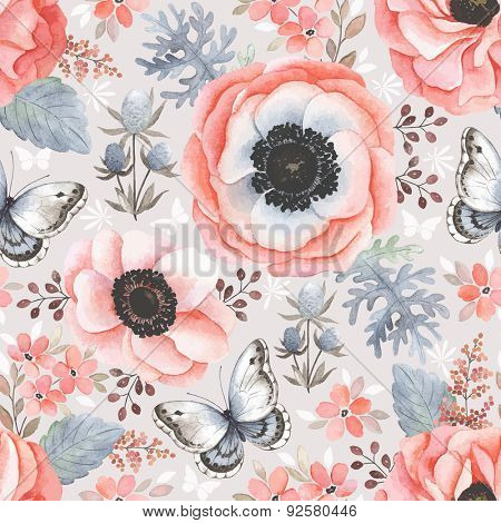 Seamless pattern with anemones, ranunculus and butterflies, watercolor illustration in vintage style.