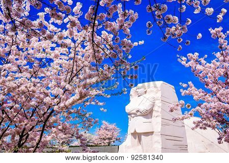 WASHINGTON - APRIL 12, 2015: The memorial to the civil rights leader Martin Luther King, Jr. during the spring season in West Potomac Park.
