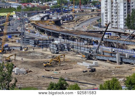 Building Site,  Construction Viaduct Transport Interchanges, Russia, St. Petersburg.