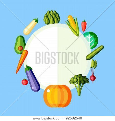 Vegetarian round frame of vegetables. Flat vector illustration.