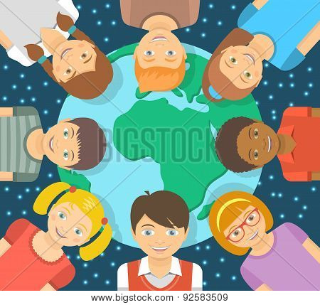 Flat Illustration Different Kids Around The Earth