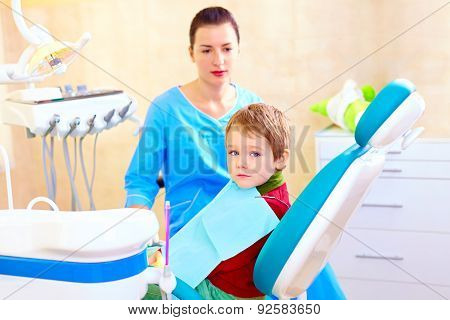 Little Kid, Patient At Examination In Dental Clinic