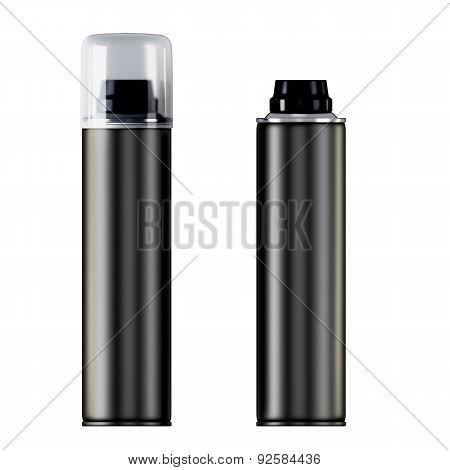 Two Black Shaving Foam Or Gel Bottles
