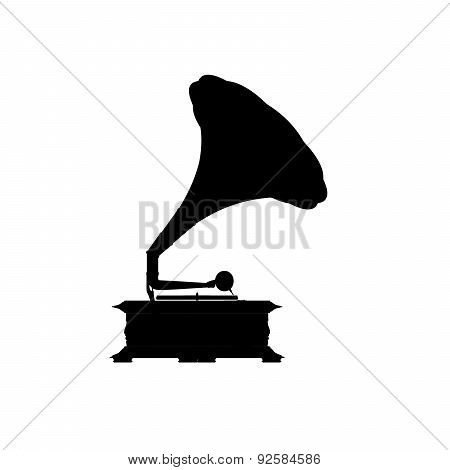 Black Silhouette Of The Gramophone