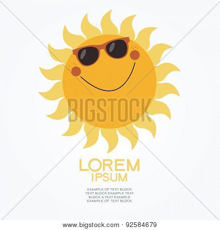 Cartoon  sun in glasses. 
