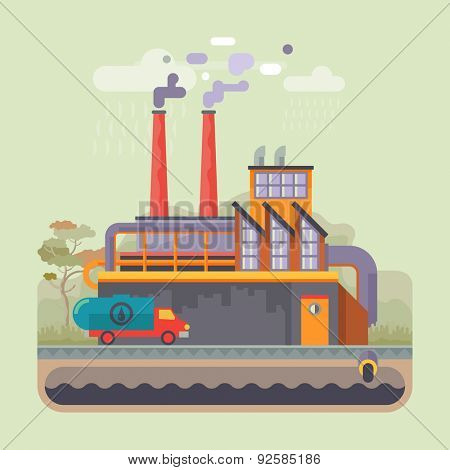Urban landscape. Ecology, environmental protection: production, factory, plant, pollution, smoke, building. Vector flat illustrations