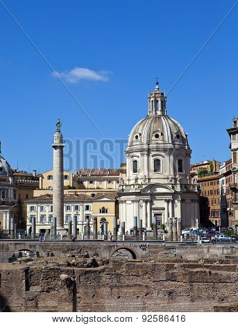 Italy. Rome. Trojan column and ruins of a forum of Trajan