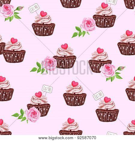 Chocolate Sugar Powdered Cupcake Seamless Vector Print