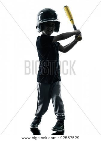 child playing softball players in silhouette isolated on white background