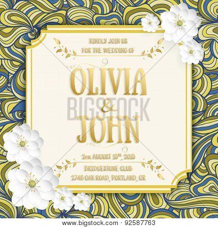 Wedding invitation card. Vector invitation card with sakura flower seamless pattern background and e