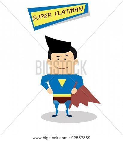 Illustration superman in flat design isolated on white background. Vector Superhero