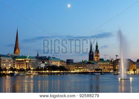 Hamburgs landmarks at dawn