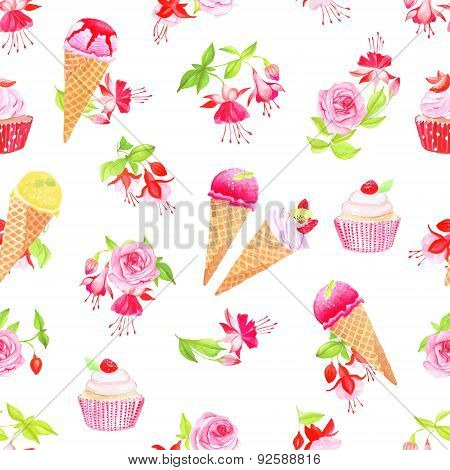 Blooming Fuchsia, Desserts And Roses Seamless Vector Print