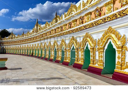 Facade of the old U-Min Thonze (thirty caves) pagoda in Sagaing hills, Myanmar (Burma)
