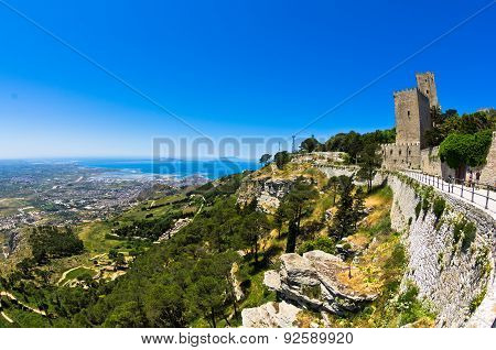 Promenade and viewpoint at famous Egadi islands, Erice, Sicily