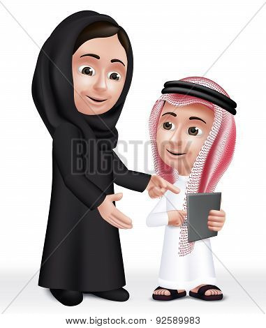 Realistic 3D Arab Teacher Woman Character Teaching Boy