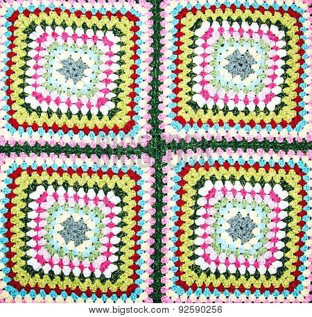 Multicolored Plaid Square Of Crocheted